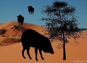 a black animal. the animal is facing back. a sand backdrop. a 7 foot tall and 6 foot wide flat black tree is -2 foot right of and behind the animal. sun is black. ambient light is linen. camera light is black. a 1st small black hog is 2 feet behind and above and -1 foot left of the animal. a 2nd small black hog is 2 feet behind and above and right of the 1st hog. it faces the 1st hog. a forest green light is in front of and -2 feet above the tree.
