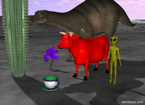 A red cow is behind a very big cup. A big cactus stands 3 feet next to the cup. A very  big violet flower is 3 feet next to the cow. A yellow alien is 1 foot to the right of the cow. The dinosaur is behind the cactus.
