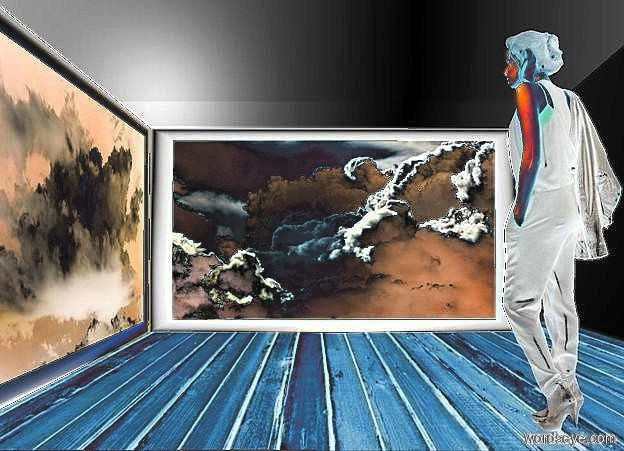 Input text: a room backdrop.a 1st 100 inch tall and 180 inch wide  [cloud2] painting.a 2nd 100 inch tall and 200 inch wide [cloud] painting is left of the 1st painting.the 2nd painting is facing east.the 2nd painting is in front of the 1st painting.a 90 inch tall woman is -65 inch right of the 1st painting.the woman is 180 inch in front of the 1st painting.the woman is facing the 2nd painting.a delft blue light is in front of the 1st painting.