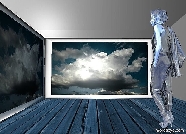 Input text: a petrol blue room backdrop.a 1st 100 inch tall and 180 inch wide  [cloud] painting.a 2nd 100 inch tall and 200 inch wide [cloud] painting is left of the 1st painting.the 2nd painting is facing east.the 2nd painting is in front of the 1st painting.a 90 inch tall shiny delft blue woman is -65 inch right of the 1st painting.the woman is 180 inch in front of the 1st painting.the woman is facing the 2nd painting.a petrol blue light is in front of the 1st painting.