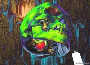 image backdrop.a skull.a black candle is 3 inches right of the skull.a green light is 6 inches in front of the skull.a lime light is 6 inches left of the skull.the skull's eye is red.a rust light is -7 inches above the skull.