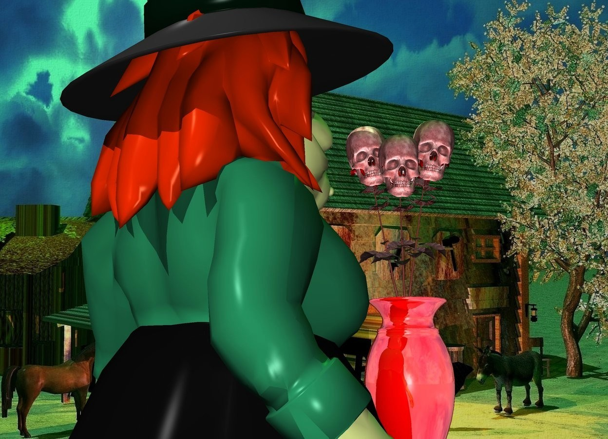 Input text: a skull is on a table.a witch is left of the table.she is facing the table.cabin backdrop.the skull is clear red.the skull's vase is shiny.the skull is facing southwest.a green light is above the skull.