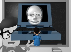 a 100 inch tall shiny petrol blue laptop.a 95 inch tall and 120 inch deep and 80 inch wide shiny gray head is -60 inch behind the laptop.the screen of the laptop is shiny black.a gray [school] backdrop.a 40 inch tall boy is 20 inch in front of the laptop. the boy is facing the laptop.the shirt of the boy is petrol blue.sky is 80% dim gainsboro.