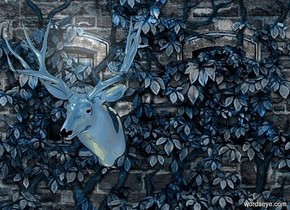 a  petrol blue [image] backdrop.sun is linen.ambient light is gray.a 100 inch tall shiny petrol blue head.the antler of the head is shiny petrol blue.