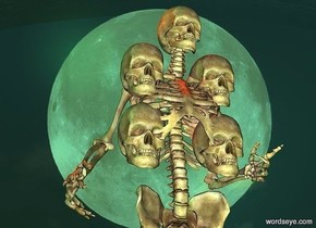 a skeleton.a 1st skull is -6 inches right of the skeleton.it is -27 inches above the skeleton.a 2nd skull is above the 1st skull.a 3rd skull is 4 inches left of the 1st skull.a 4th skull is above the 3rd skull.a malachite green light is 1 feet in front of the skeleton.shiny moon backdrop.a rust light is above the 2nd skull.peppermint green sun.a 2nd rust light is above the 4th skull.