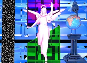 A white angel. First light green window is -1 foot behind angel and 1.5 inch in ground.  Second purple window is -1.2 foot behind angel and 3.5 feet above ground. Second window is upside down. The 8  foot tall silver waffle is 50 feet behind angel. Waffle is facing up. Ground is silver. Sky is 5000 foot wide [texture]. 1.5 foot wide and 10  foot tall wall is 1.5 foot left of first window. Wall is 0.1 inch deep. Wall is 3  foot wide  [p1].  Ambient light is hot pink. A 3 foot tall and 2 foot wide shiny black pillar is 0.5 foot right of first window. 1.7 foot tall 20% reflective globe is 0.5 foot above pillar. Globe is facing north. Big shiny black hand is -0.5  feet above globe. Hand is upside down. Hand is -1 inch in front of globe.