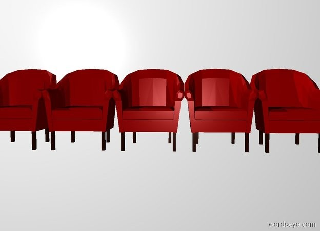 Input text: 10 2.5 foot wide and 3 foot tall maroon chairs. a white backdrop.