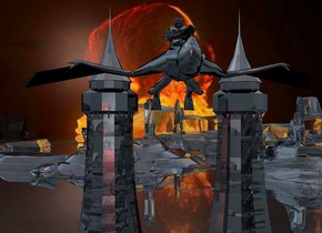 The image backdrop. a 1st shiny black tower.a 2nd shiny black tower is 23 feet right of the 1st tower.a 8 feet tall shiny night glider is 100 feet in front of the 1st tower.it is -11 feet right of the 1st tower.the night glider is leaning 70 degrees to the south.the night glider is 40 feet above the ground.a 2 feet tall shiny black statue is -18 inches above the night glider.the statue is 1.5 feet wide.clear ground.dull sun.a red light is 6 feet in front of the night glider.