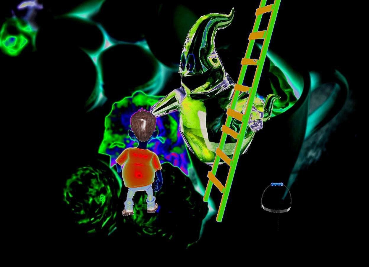 Input text: The  [scene]  backdrop.   sun's azimuth is 0 degrees. sun's altitude is -50 degrees. a small boy faces back. a small ladder is 1 foot right of the boy. it faces right. a small white bucket is in front of the ladder. ambient light is gold. a clear white ghost is -1.5 feet  right of and behind the boy.it faces southwest. it leans forward