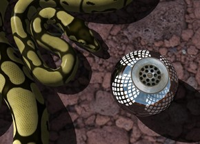 A drain circle is in a huge shiny drain sphere. Camera light is black. A huge lemon snake is left of the sphere. It is facing east. The sun is silver. A light is above and left of the snake.