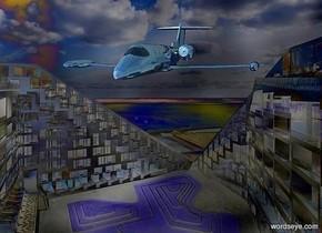 a [nf] backdrop.a 90 inch tall shiny petrol blue airplane.