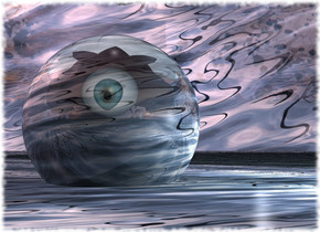Water backdrop. The ground is water. A water sphere is -2 inch above the ground. Camera light is black. 2 lights are right of the sphere. A 30 feet high [eye] sphere is 1 foot in front of the sphere. It is facing southeast. It is leaning 5 degrees to the front. The sun is pink. The sky is water. A 70 feet high shiny bird is -20 feet above the sphere. It is upside down.