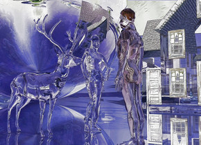 a clear man.clear backdrop.a clear animal is 2 feet in front of the man.it is facing the man.the ambient light is delft blue.lilac sun.clear ground.the ground is 175 feet tall.a clear woman is left of the animal.she is facing northeast.the woman is -2.3 feet behind the animal.a clear house is 20 feet left of the woman.it is facing the woman.a 50 feet tall silver sphere is 6 feet in front of the house.a lavender light is 1 feet above the house.