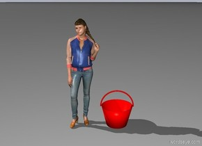 a little girl and a red bucket