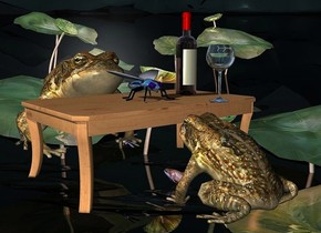 a  table.a 1st 20 inch tall frog is in front of the table.the 1st frog is facing the table.a 2nd 35 inch tall frog is behind the table.a frog backdrop.a 8 inch tall shiny petrol blue fly is on the table.a 25 inch tall wine bottle is 5 inch right of the fly.a 15 inch tall wine glass is 7 inch  in front of the fly.the wine glass is -12 inch right of the wine bottle.