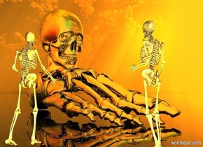 skull backdrop.a 1st skeleton.a 2nd skeleton is 4 feet left of the 1st skeleton.the 2nd skeleton is facing southeast.a 1st yellow light is 6 inches behind the 1st skeleton.a 2nd yellow light is 6 inches behind the 2nd skeleton.orange sun.