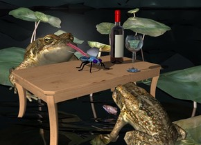 a  table.a 1st 20 inch tall frog is in front of the table.the 1st frog is facing the table.a 2nd 35 inch tall frog is behind the table.a frog backdrop.a 8 inch tall shiny petrol blue fly is on the table.a 25 inch tall wine bottle is 5 inch right of the fly.a 15 inch tall wine glass is 4 inch  in front of the fly.the wine glass is -12 inch right of the wine bottle.a 20 inch long and 1.5 inch tall tongue is -9.4 inch above and -.3 inch in front of the 2nd frog. it leans 10 degrees to the front