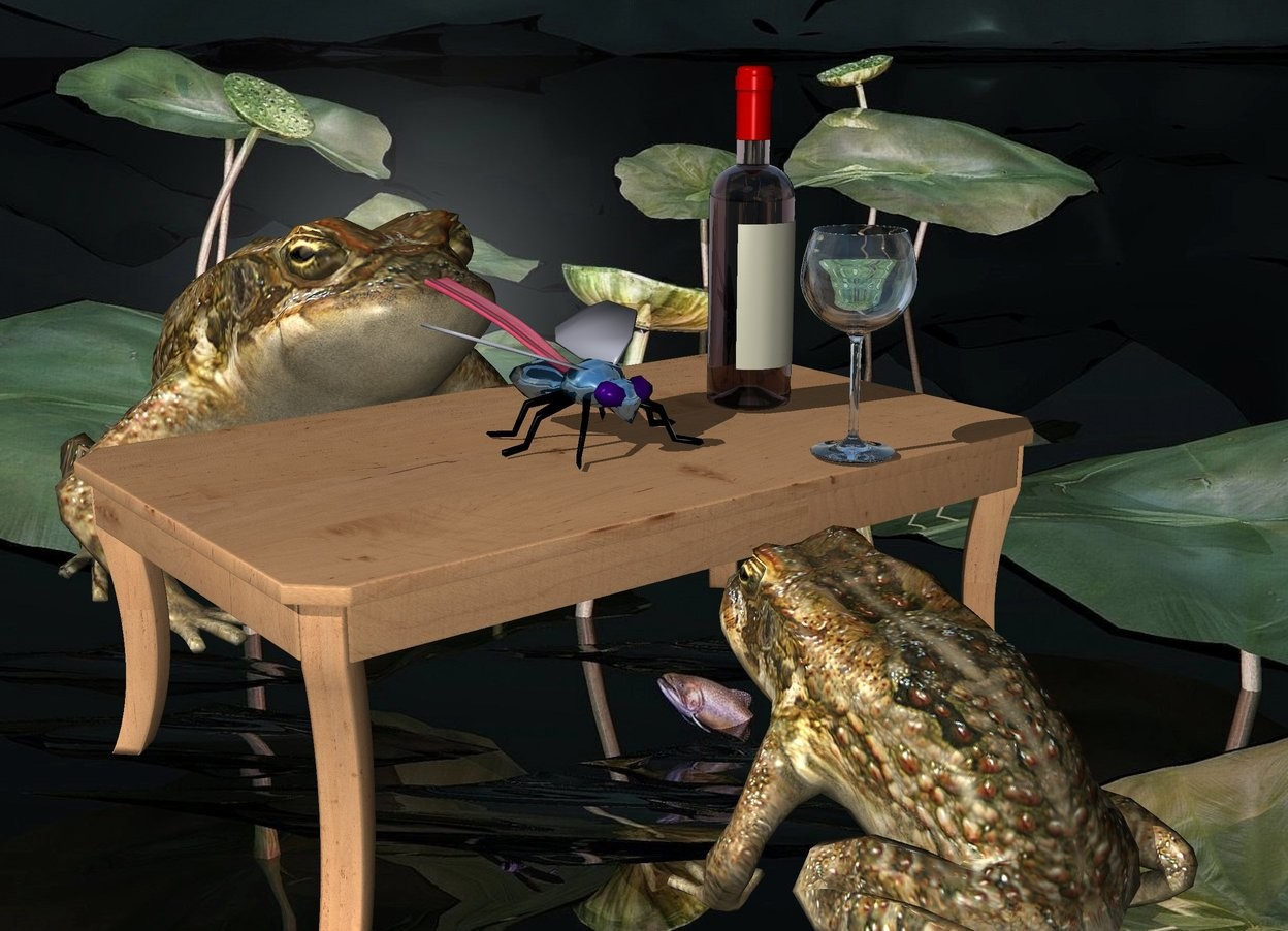 Input text: a  table.a 1st 20 inch tall frog is in front of the table.the 1st frog is facing the table.a 2nd 35 inch tall frog is behind the table.a frog backdrop.a 8 inch tall shiny petrol blue fly is on the table.a 25 inch tall wine bottle is 5 inch right of the fly.a 15 inch tall wine glass is 4 inch  in front of the fly.the wine glass is -12 inch right of the wine bottle.a 20 inch long and 1.5 inch tall tongue is -9.4 inch above and -.3 inch in front of the 2nd frog. it leans 10 degrees to the front