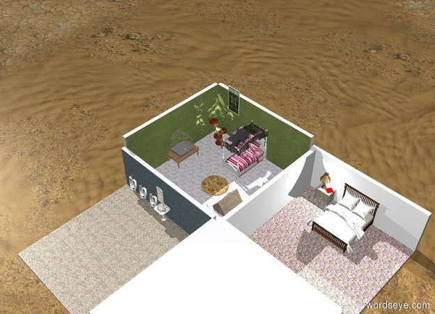Input text: A bedroom is next to a bedroom. A bathroom is in front of it. A living room is to the right of the bathroom.