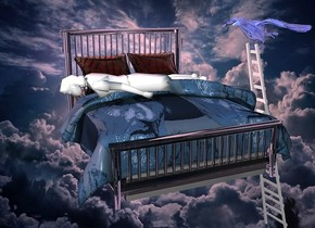 a  [cloud] backdrop.a 100 inch tall clear white bed.the blanket of the bed is 70 inch wide [to].the pillow of the bed is clear.the mattress of the bed is clear.sun is  pink.a 120 inch tall white woman is -50 inch above the bed.the woman is facing west.the woman leans 87 degrees to the front.the woman is -125 inch left of the bed.a 200 inch tall shiny steel ladder is right of the bed.the ladder is facing the bed.the ladder is -210 inch above the bed.a 34 inch tall shiny  night blue crow is -15 inch above the ladder.the crow is facing the bed.the crow is -98 inch in front of the ladder.the crow leans 10 degrees to the front.a petrol blue light is 5 inch above the crow.