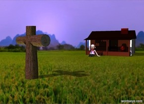a cross.hill backdrop.shadow plane.a cabin is 40 feet right of the cross.it is behind the cross.the cabin is facing the cross.a man is left of the cabin.he is facing left.lavender sun.the camera light is dim.