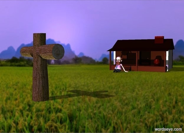 Input text: a cross.hill backdrop.shadow plane.a cabin is 40 feet right of the cross.it is behind the cross.the cabin is facing the cross.a man is left of the cabin.he is facing left.lavender sun.the camera light is dim.