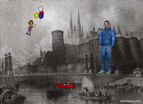 a [water] backdrop.  a person. a very tiny red boat is -.2 foot beneath and  1 foot left of and  2.4 foot in front of the person. the boat faces left. the boat leans 10 degrees to the front. a small boy is 7 foot in front of and left of and -2 foot above the person. the boy faces southeast. he leans to the left.