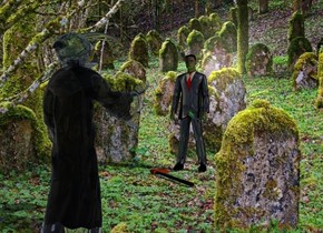 The image backdrop.a clear grim reaper.shadow plane.a shiny black man is 8 feet in front of the grim reaper.he is facing the grim reaper.camera light is dim.ambient light is dim.a lime light is 1 feet behind the man.a axe is 3 inches behind the man.the axe is face up.it is facing northwest.the axe's cutting blade is rust.