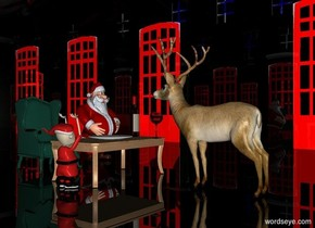 a shiny black building.a armchair is -22 feet in front of the building.a table is 2 feet in front of the armchair.a man is 1 feet right of the chair.the building's door is shiny red.the building's window is shiny blue.a deer is 6 inches in front of the table.it is facing the table.a elf is left of the table.he is facing the table.