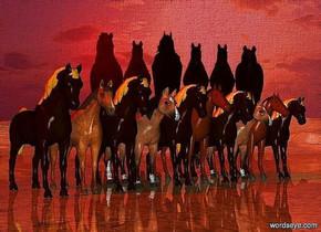 a   [horse] backdrop.ten horses.sun is maroon.ground is shiny.
