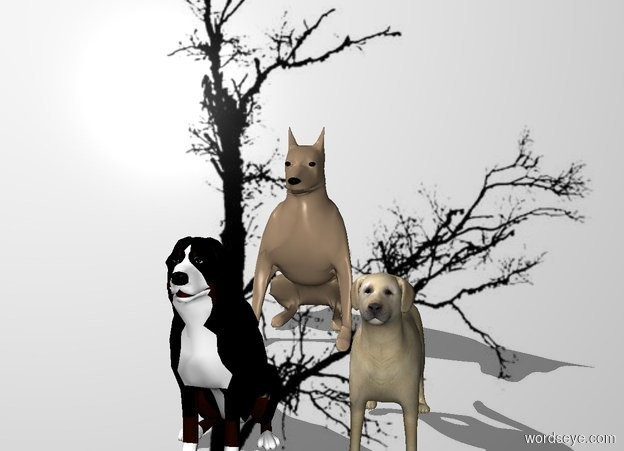 Input text: tree backdrop.a 1st dog.shadow plane.a 2nd dog is 1 feet in front of the 1st dog.a 3rd dog is 8 inches right of the 2nd dog.a 4th dog is 1 feet in front of the 3rd dog.a 5th dog is 7 inches left of the 4th dog.
