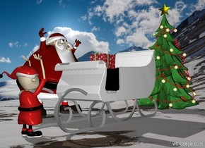[snow] backdrop.a sleigh.shadow plane.a man is left of the sleigh.he is facing the sleigh.a tree is 1 feet behind the sleigh.a elf is in front of the sleigh.he is facing the sleigh.a box is -15 inches above the sleigh.