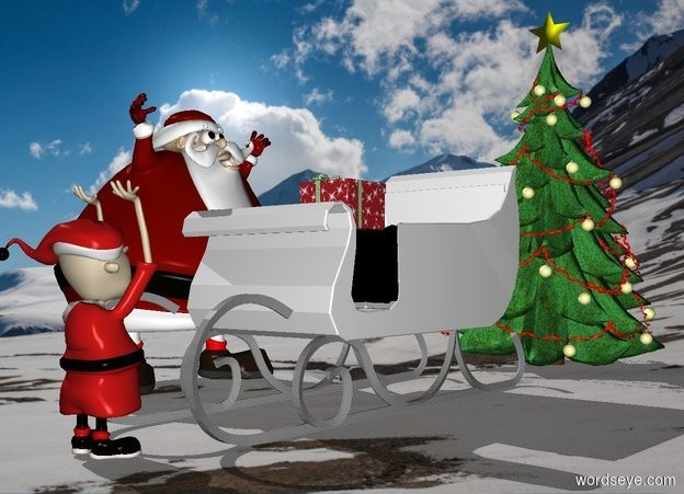 Input text: [snow] backdrop.a sleigh.shadow plane.a man is left of the sleigh.he is facing the sleigh.a tree is 1 feet behind the sleigh.a elf is in front of the sleigh.he is facing the sleigh.a box is -15 inches above the sleigh.