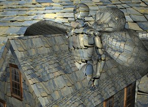 a roof backdrop.a 100 inch tall [roof] house.the roof of the house is [roof].a 100 inch tall [roof] man is -80 inch above the house.the man is -40 inch right of the house.a 100 inch tall  bird is behind the man.the bird is 20 inch wide [roof].