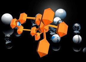 a 10 inch tall  and 15 inch wide  and 10 inch deep   orange molecule.sky is blue gray..ground is clear.a [abstract] backdrop.the backdrop is blue gray.the molecule leans 80 degrees to back.