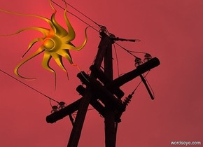 a 100 inch tall [power] backdrop.sun is red.a 100 inch tall and 100 inch wide and 150 inch  deep orange sun symbol.
