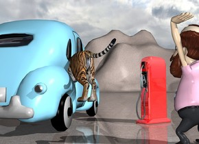 the sky blue car. the tiger is -7 feet above and -8 feet behind the car. it is facing southeast. it is -4 feet to the left of the car. it is leaning 10 degrees to the front. the light is 7 inches to the right of the tiger. the shiny pump is 3 feet to the left of the car. it is facing southeast. the man is 4 foot behind and -2 feet to the left of the pump. he is facing southeast. the ground is concrete.