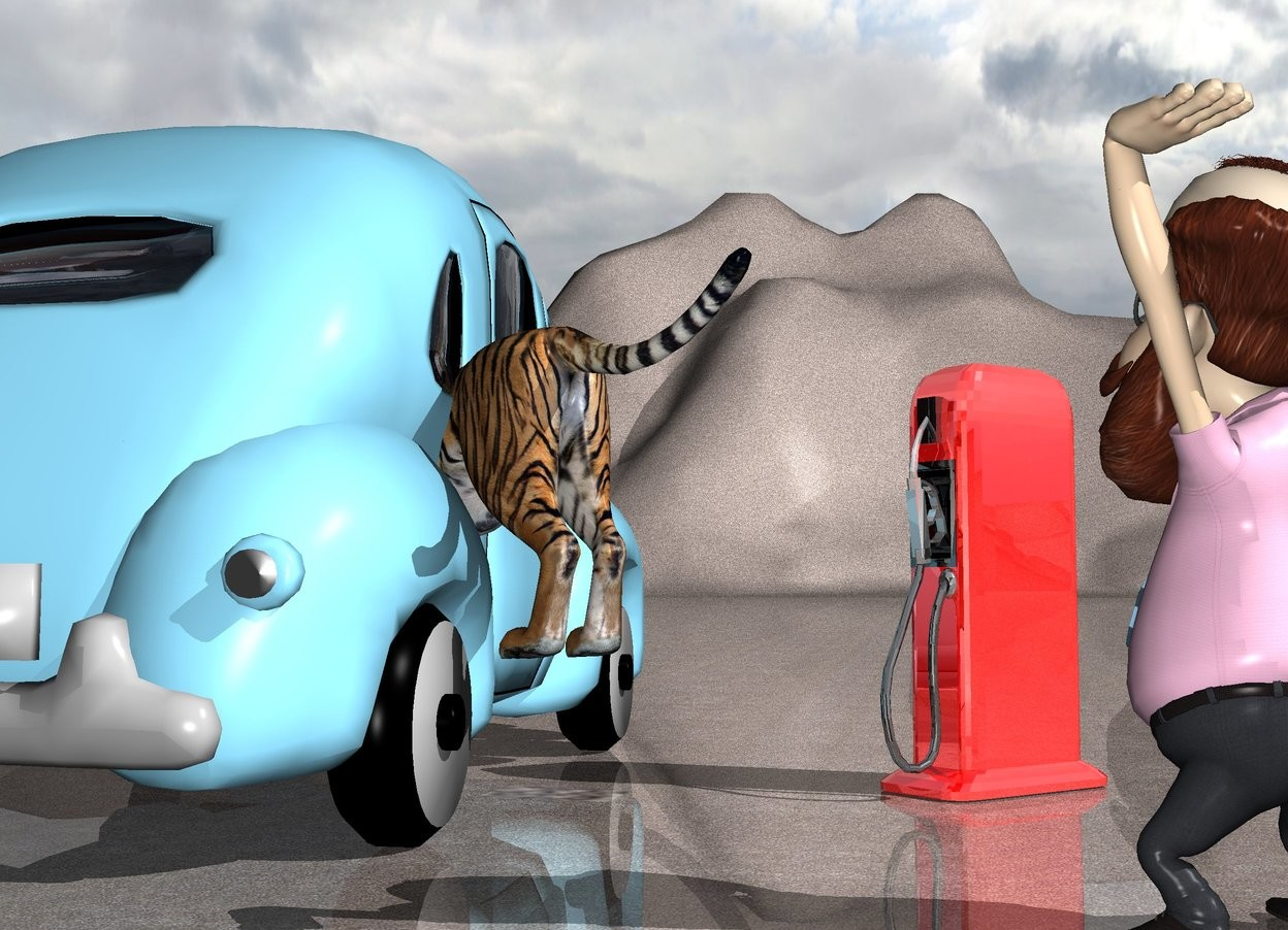 Input text: the sky blue car. the tiger is -7 feet above and -8 feet behind the car. it is facing southeast. it is -4 feet to the left of the car. it is leaning 10 degrees to the front. the light is 7 inches to the right of the tiger. the shiny pump is 3 feet to the left of the car. it is facing southeast. the man is 4 foot behind and -2 feet to the left of the pump. he is facing southeast. the ground is concrete.