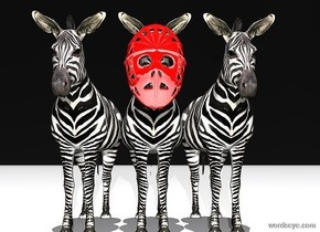 a large shiny red mask is in front of and -2.8 foot above a 1st zebra. sky is black. ground is white. a 2nd zebra is right of the zebra. a 3rd zebra is left of the 1st zebra. a ghost white light is 10 feet in front of the mask. it is noon.
