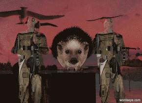 a hedgehog backdrop. a large black block. sun is black. camera light is black. ambient light is linen. a huge hedgehog is above the block. a 1st 5 foot tall soldier is right of the block. the soldier faces left. a 2nd 5 foot tall soldier is left of the block. the soldier faces left.