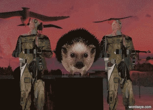 Input text: a hedgehog backdrop. a large black block. sun is black. camera light is black. ambient light is linen. a huge hedgehog is above the block. a 1st 5 foot tall soldier is right of the block. the soldier faces left. a 2nd 5 foot tall soldier is left of the block. the soldier faces left.