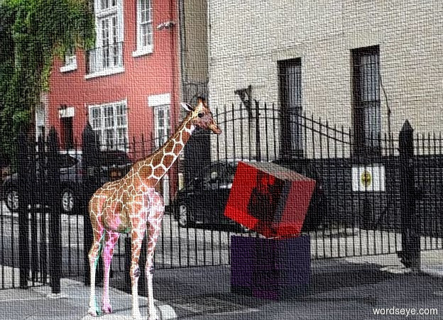 Input text: The image backdrop. the red glass cube is above the  purple glass cube. the red cube is leaning forwards. the 3 foot tall giraffe is two feet left of the purple cube.  the shadow plane.   the cyan light and the magenta light are 3 feet in front of  the giraffe.