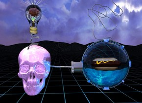 A big shiny lavender skull is 1 foot above the ground. Big shiny dark gray plug is -1.4 inch right of skull. Plug is facing right. Plug is facing down. Plug is 22 inches above ground. Big transparent cyan sphere is  -1.4 inch right of plug and 14 inches above ground. Hot dog is 1.2 foot in sphere.  White light is  in front of hot dog.  Cyan light is 1 foot right of skull. 2.3 foot wide shiny delft blue space station is -1 inch behind hot dog and 12 inches above ground. Space station is -18.75 inches to right. Small shiny dark gray rope is 1 inch in space station. Rope is facing up. Rope is leaning 90 degrees to west. Small shiny dark gray xi is -4 inch in front of skull and 29.5 inch above ground. Xi is -12 inch to left. Huge lemon chiffon lightbulb is -1 inch above xi. Lightbulb's thread is gold. 3.2 inch tall shiny flesh brain is 5.3 inches in lightbulb. bright White light is in front of brain. 0.1 inch tall transparent cube is 2 foot in front of brain and 0.8 foot to left. Brain is facing cube. orange light is behind brain. Ground is 10 foot wide [grid1]. 16 inch wide gold sun symbol is 1 inch behind lightbulb. Sun symbol is -6 inch above lightbulb and -13.9 inch to right.