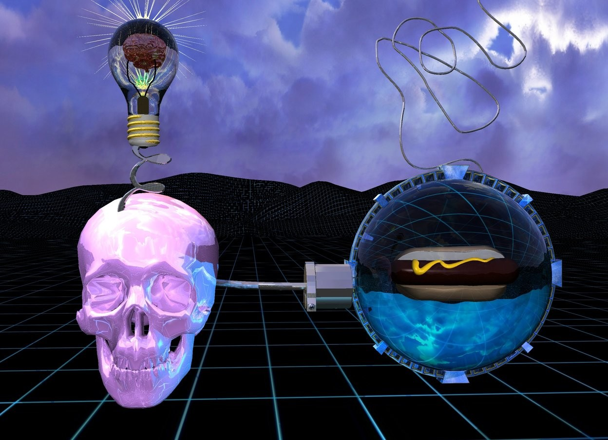 Input text: A big shiny lavender skull is 1 foot above the ground. Big shiny dark gray plug is -1.4 inch right of skull. Plug is facing right. Plug is facing down. Plug is 22 inches above ground. Big transparent cyan sphere is  -1.4 inch right of plug and 14 inches above ground. Hot dog is 1.2 foot in sphere.  White light is  in front of hot dog.  Cyan light is 1 foot right of skull. 2.3 foot wide shiny delft blue space station is -1 inch behind hot dog and 12 inches above ground. Space station is -18.75 inches to right. Small shiny dark gray rope is 1 inch in space station. Rope is facing up. Rope is leaning 90 degrees to west. Small shiny dark gray xi is -4 inch in front of skull and 29.5 inch above ground. Xi is -12 inch to left. Huge lemon chiffon lightbulb is -1 inch above xi. Lightbulb's thread is gold. 3.2 inch tall shiny flesh brain is 5.3 inches in lightbulb. bright White light is in front of brain. 0.1 inch tall transparent cube is 2 foot in front of brain and 0.8 foot to left. Brain is facing cube. orange light is behind brain. Ground is 10 foot wide [grid1]. 16 inch wide gold sun symbol is 1 inch behind lightbulb. Sun symbol is -6 inch above lightbulb and -13.9 inch to right.