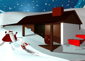 a 15 feet tall snow sand dune.a house is -80 feet right of the sand dune.snow ground.a man is in front of the house.he is facing right.a sleigh is right of the house.the sleigh is red.[snow] backdrop.a 30% aqua light is 1 feet above the man.a elf is 2 feet right of the man.