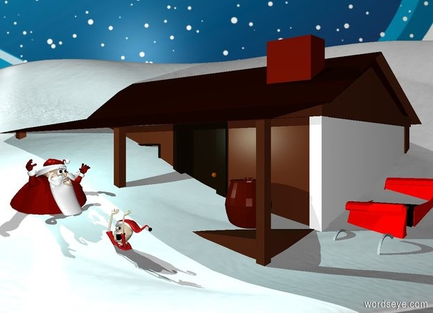 Input text: a 15 feet tall snow sand dune.a house is -80 feet right of the sand dune.snow ground.a man is in front of the house.he is facing right.a sleigh is right of the house.the sleigh is red.[snow] backdrop.a 30% aqua light is 1 feet above the man.a elf is 2 feet right of the man.