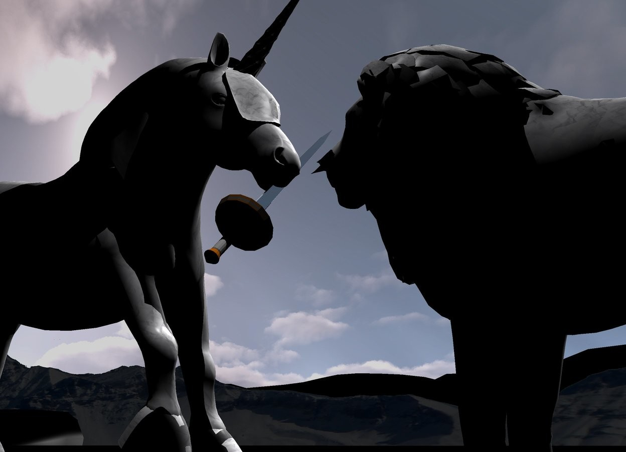 Input text: A paper unicorn is in front of a paper lion. It is facing the lion. Camera light is black. Ambient light is black. A light is above and behind the unicorn. The ground is black. The sun is silver. A silver sword is 4 inch in front of and -2.35 feet above the lion. It is leaning 45 degrees to the right. The background is mountain. The background is short and dark.