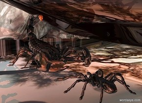 a shiny scorpion.the ground is shiny sky.the ground is 50 feet wide.a shiny black spider is in front of the scorpion.it is facing the scorpion.a rust light is 3 inches in front of the spider.