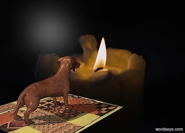 Input text: a candle backdrop.a 50 inch tall dog.the dog is facing northeast.a 100 inch wide and 100 inch deep and 0.1 inch tall [rug] carpet is below the dog.