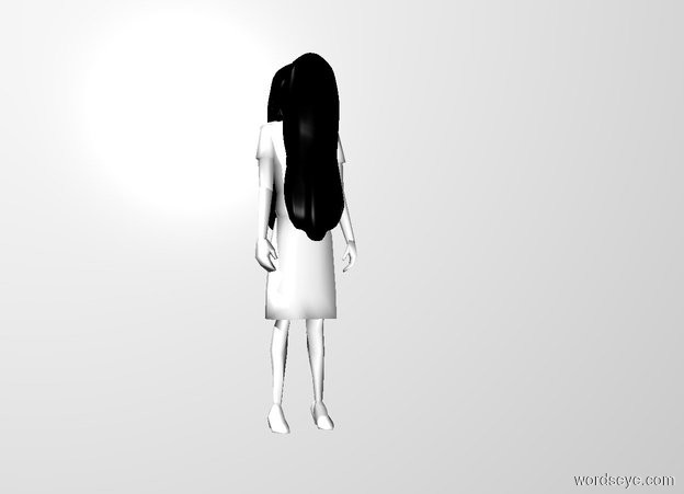Input text: a white woman. a first 3 foot tall and 1 foot wide black head of hair is -.5 feet in front of and -3 feet above the woman. it is facing back.a second 3 foot tall and 1 feet wide black head of hair is -6.8 inches behind and -3 feet above the woman.the woman's hair is black.white backdrop.